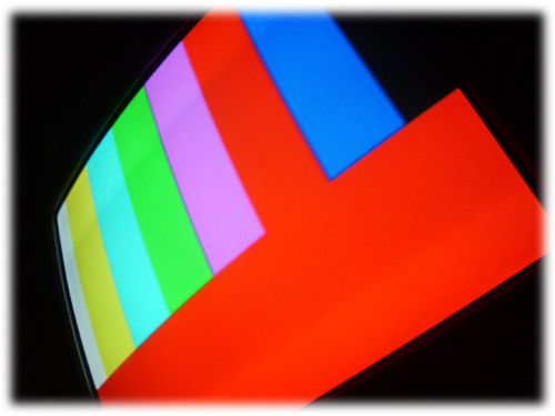 A Tv screen with a test pattern
