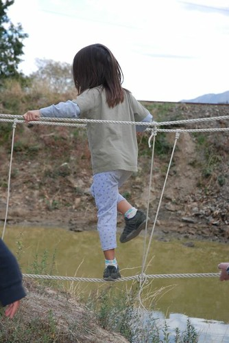 Walking the rope bridge