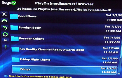 HD200 Playon Listings