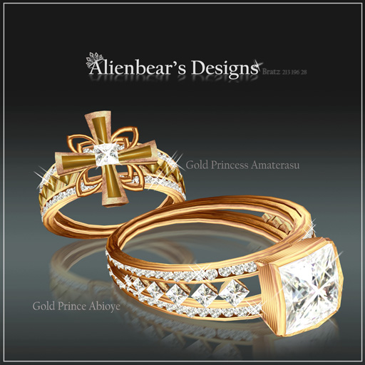 Gold Abioye and Amaterasu Rings