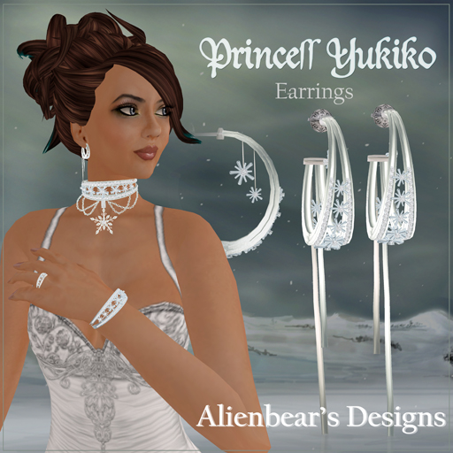 Princess Yukiko earrings white