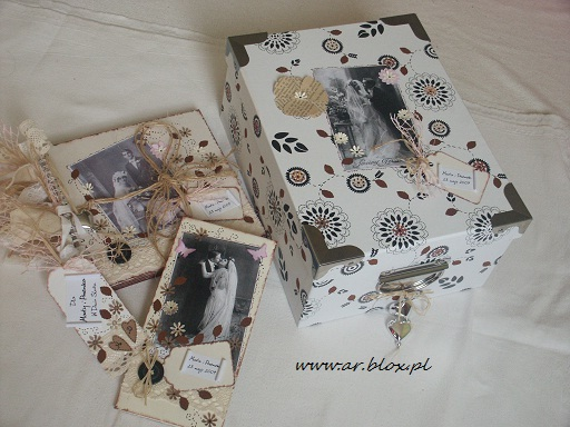 wedding set:  wedding guest book, card, tag and box