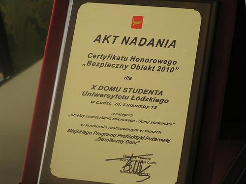 Certyfikat Bezpieczny Obiekt 2010