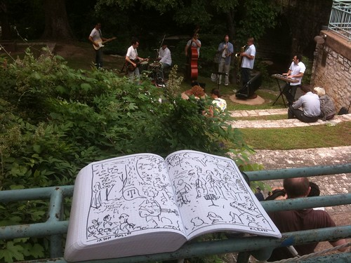 Austin Kleon drawing Jason Molin's concert by Waller creek