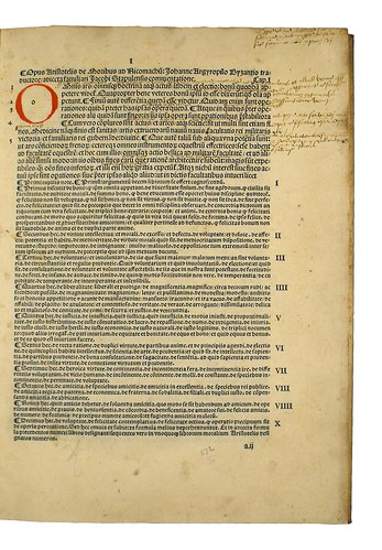 Annotations and rubricated initial in Aristoteles: Ethica ad Nicomachum