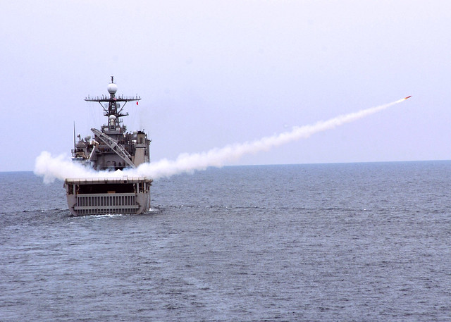 USS Tortuga (LSD 46) launches a target drone during a drone gunnery exercise in support of CARAT Malaysia 2011