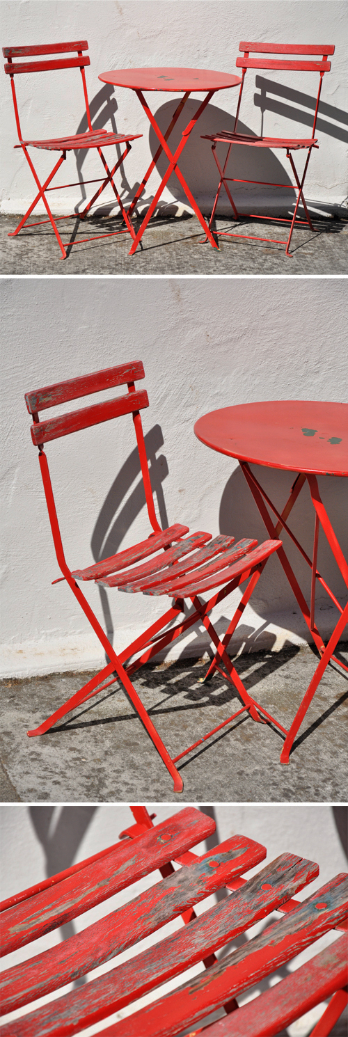 Red Bistro Table and Chairs