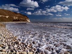 South Landing (Roger B.) Tags: sea cliff cloud beach coast chalk cove pebble flamborough imagekind onwebsite