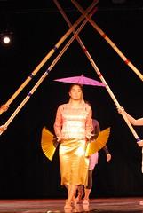 Singkil Dance (Ted Somerville) Tags: pink feet students umbrella asian gold golden fan dance outfit sticks student asians dancer skirt filipino fans procession bloomington iu organization association crossed phillipines singkil