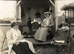 In the Edwardian beach hut (lovedaylemon) Tags: holiday beach vintage found seaside image beachhut shelter edwardian pram