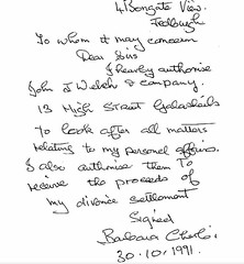 dictated letter Mrs Cherbi was forced to sign authorising Norman Howitt as her agent 1991