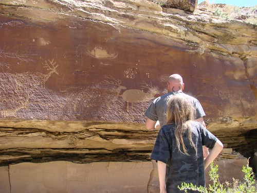Ancient petroglyphs along Green River