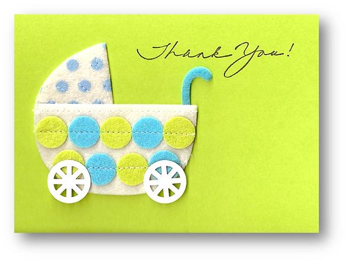 handmade thank you card designs. Baby Buggy Thank You Card