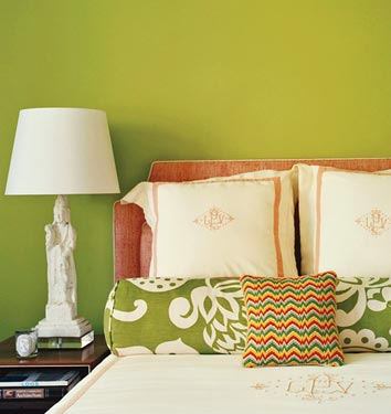 Vibrant lime green bedroom with white and rose pink accents, via <a href=
