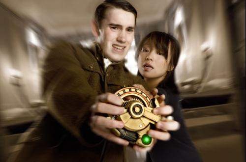 Naoko Mori as Toshiko Sato in Torchwood scene closing a portal in the Cardiff rift