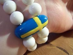366 Days - 166th Picture (Lila Rache) Tags: blue yellow beads desk sweden flag swedish bracelet sverige wrist 1406 366 366days