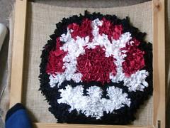 power up mushroom rag rug