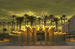Urban Light at the Los Angeles County Museum of Art (Menetnasht) Tags: county leica chris trees light sky urban art lamp museum lumix lights 1 solar los iron boulevard post display angeles miracle antique contemporary palm panasonic number explore southern cast installation lamps tone hdr lacma 202 mile wilshire mapped fz50 artcafe photomatix calfiornia burdens top20la worldglobalaward globalworldawards