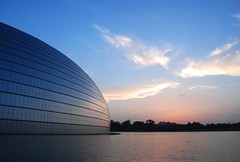 Sunset over the National Grand Theater (NowJustNic) Tags: china sky cloud lake water architecture nikon theater theatre beijing  bluehour   paulandreu d80 alienegg  nikkor18135mm nationalgrandtheater ducksegg nationaltheaterfortheperformingarts