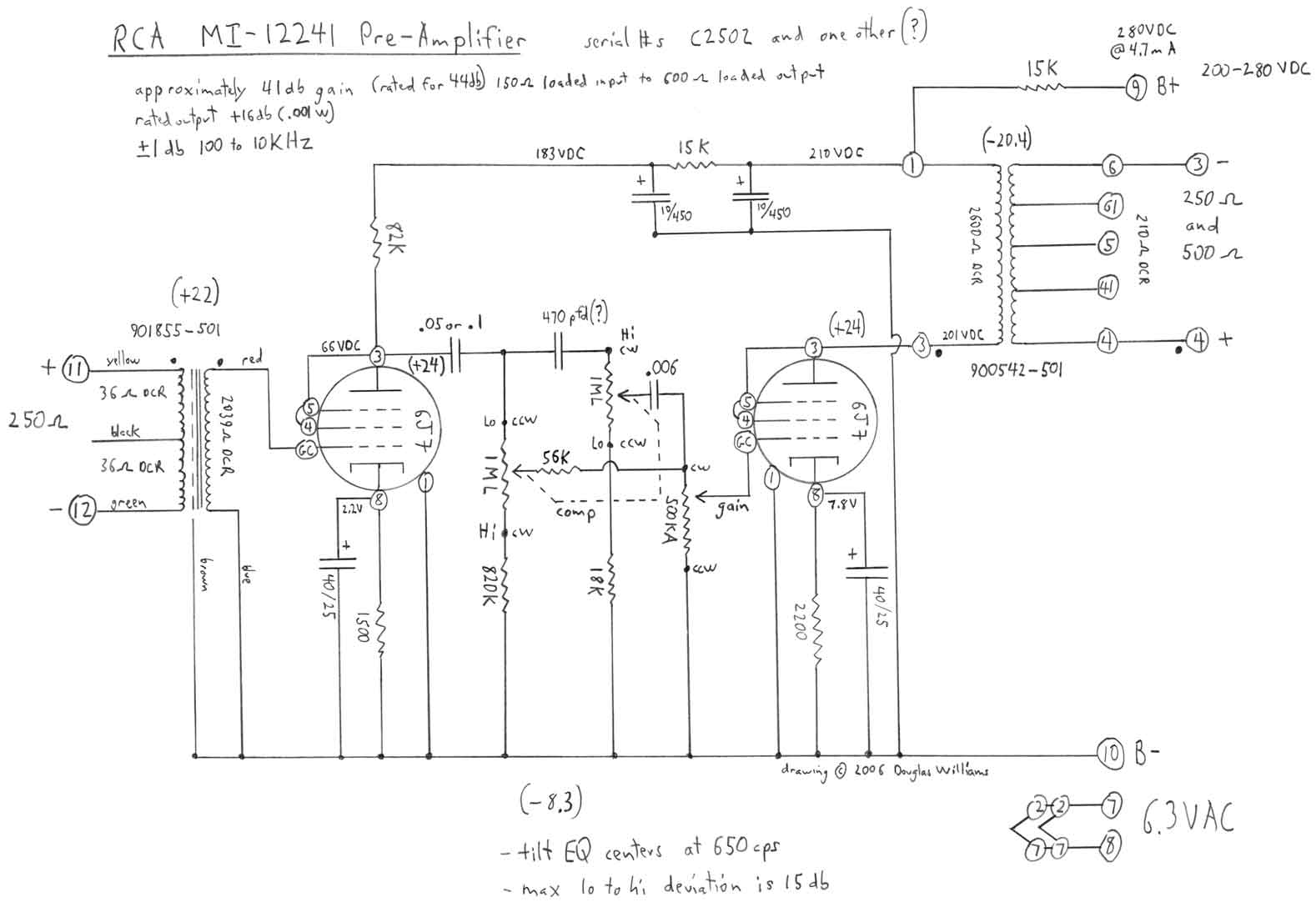 Tilt Equalizer Pro Audio Design Forum Based On The Classic Baxendall Tone Control Circuit This Provides A I Measured Closer To 800hz Restored Unit Thats Abbreviated Comp Panel So People Are Always Trying Sell Them As Tube Compressors