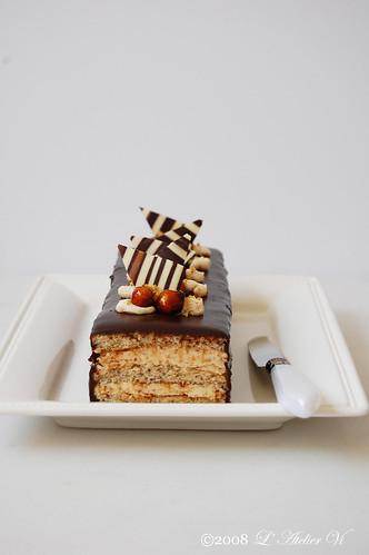 Gâteau au praliné nappé de ganache~