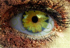Blossom (Poisoned Apple Photography) Tags: blue iris brown flower green eye yellow petals rainbow vines lashes skin blossom dirt veins pupil