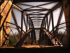 Siemenssteg (sulamith.sallmann) Tags: bridge building berlin architecture buildings deutschland edited bridges architektur brücke bauwerk photoshoped challenger steg schmiedekunst brücken geländer schnörkel verzierung übergang sulamithsallmann siemenssteg goldenvisions metallbrücke