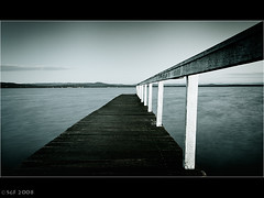 Walking the the long plank at Long Jetty (sachman75) Tags: morning blackandwhite bw dawn wooden australia nsw centralcoast planks 1022mm dutone longjetty 40d auselite