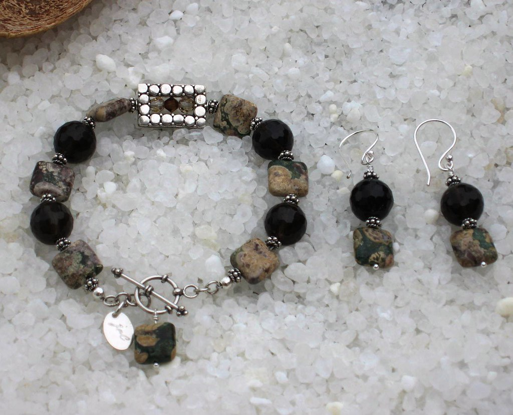 Ocean Jasper, Smoky Quartz and Sterling Silver Set