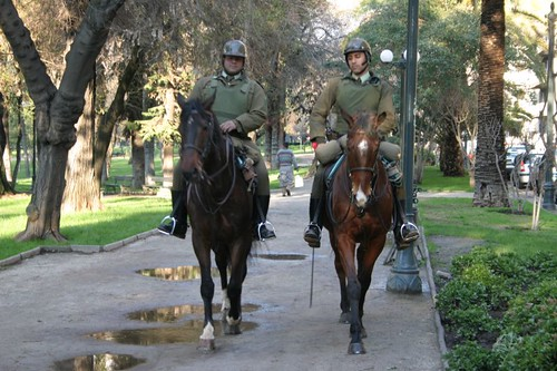 Chilean cavalry in Parque Forestal, Santiago.