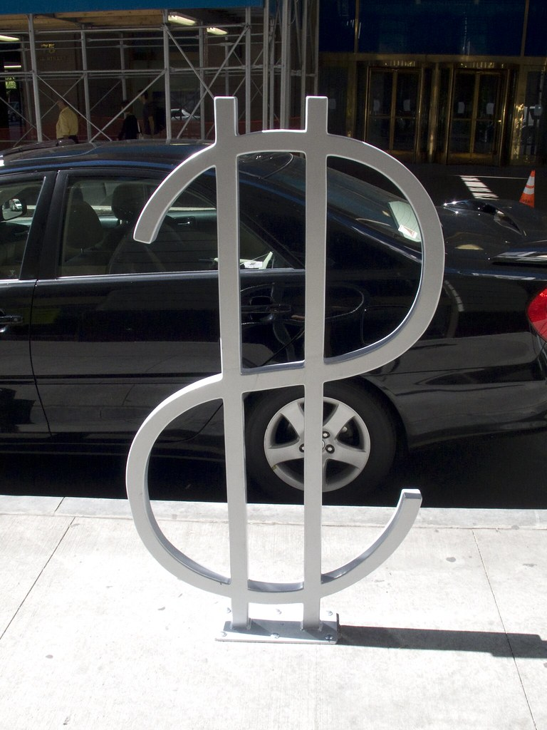 David Byrne Bike Rack on Wall Street