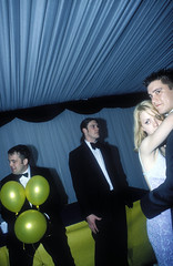 Glamorgan University Ball, 1999  Rob Watkins (Aland Rob) Tags: uk girls party people woman man students girl yellow wales ball balloons marquee student women hug couple pretty sitting dress britain united tie kingdom stroke suit tuxedo bow sit sat gown gowns embrace seated tender tenderly stroking ballgown