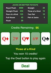 Screenshot of video poker game