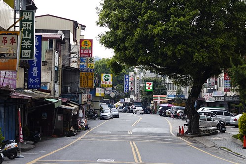 The main street looks like any modern, but rural, village in Taiwan. You can even see a 7/11 on the right side a bit down the road.