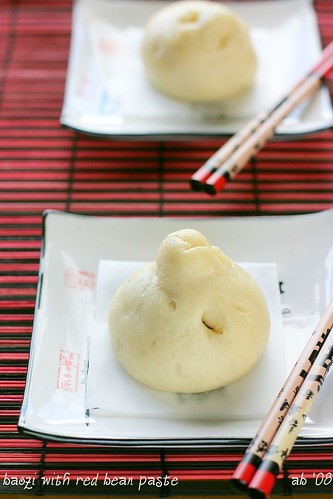 baozi with red bean paste