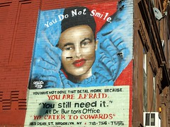 """""""You Do Not Smile"""" Dental Work Mural, Brooklyn New York City (jag9889) Tags: county street city nyc ny newyork art smile brooklyn work graffiti mural artist dean dental kings doctor crown heights 2008 cru burton cowards tats not y2008 jag9889"""