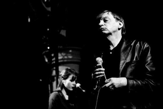Fall singer Mark E Smith in a dark Cardiff venue