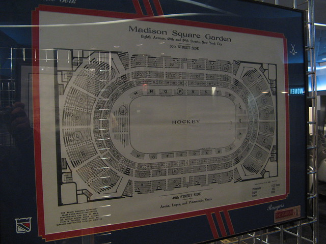 Seating plan from the 50th Street Madison Square Garden on display at the