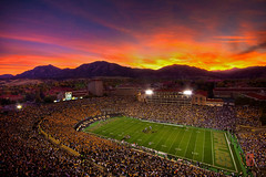 When Gods Watch... (@!ex) Tags: sunset sun mountains college nature night clouds america landscape football colorado university state pentax stadium folsom wideangle denver boulder kansas hdr flatirons buffaloes wildcats sigma1020mm universityofcolorado k10d pentaxk10d alexbenison