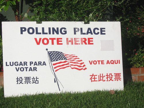 Polling place sign, November 2008 election