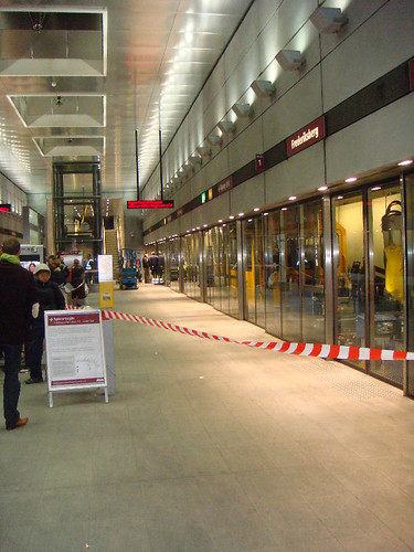 People waiting to change trains at the Frederiksberg Metro Station