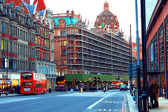 (Dior_Man) Tags: street uk bridge red man bus green london station sign buildings underground construction taxi united kingdom flags harrods knights dior         diorman
