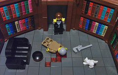 The kitten, in the library, with the pipe wrench (S.L.Y) Tags: cat lego murder clue