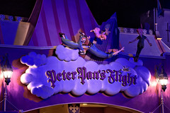 Disney - Peter Pans Flight Sign at Night