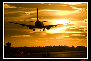 Landing at Sunset aiport
