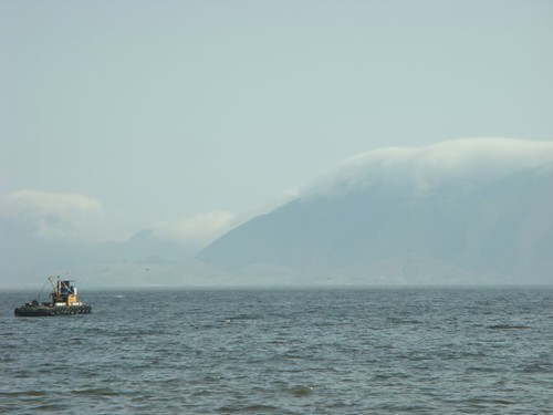Cloud formation on island off the coast of Chimbote, Peru.