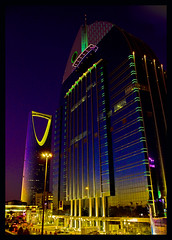 Alanoud and Kingdom Tower (mauriziopani) Tags: blue sky building architecture night lights towers saudi arabia riyadh novotel flickrshop anoud alanoud visipix fishanalogy architecturalconcept