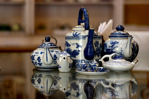 Blue teaset reflection