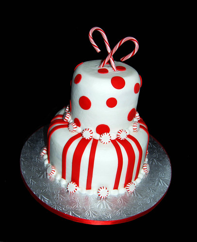 Red and white candy cane cake