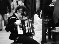 Accordionist (Auntie P) Tags: street blackandwhite bw musician music playing london candid accordion coventgarden busker accordionist joeblack challengeyouwinner